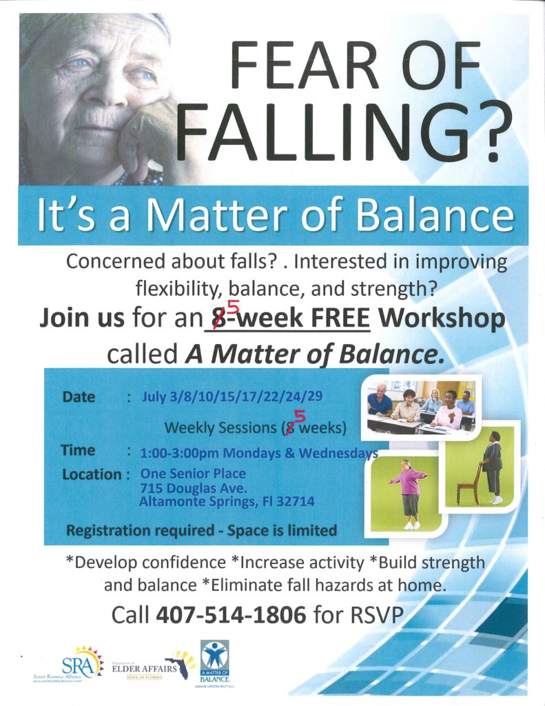 Matter of Balance 5-week series  @ One Senior Place