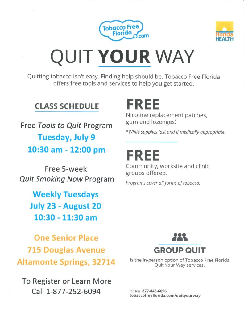 FREE Tools to Quit Program @ One Senior Place