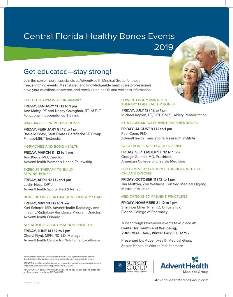 Central Florida Healthy Bones Events 2019 - One Senior Place