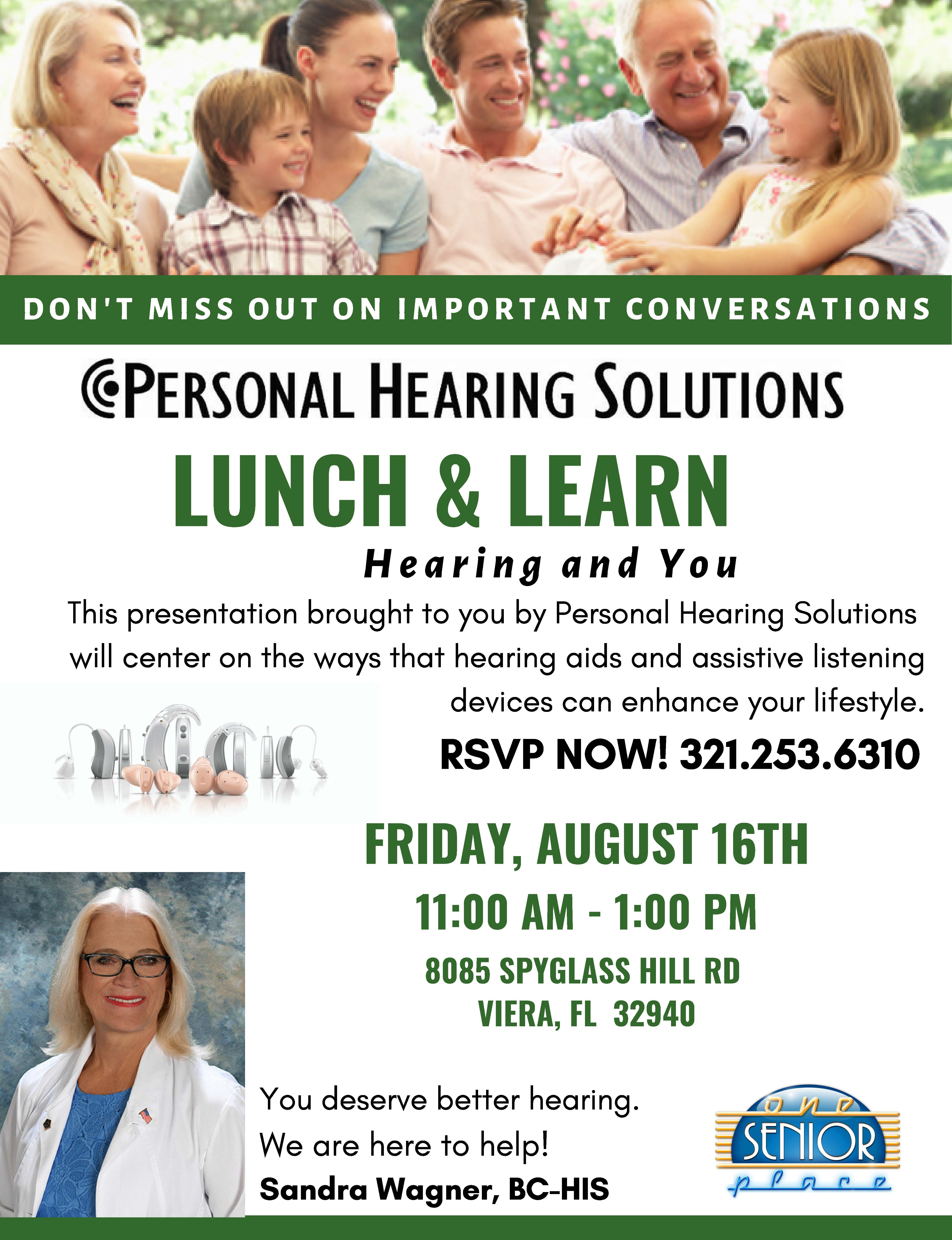 Hearing and You Lunch and Learn presented by Personal Hearing Solutions