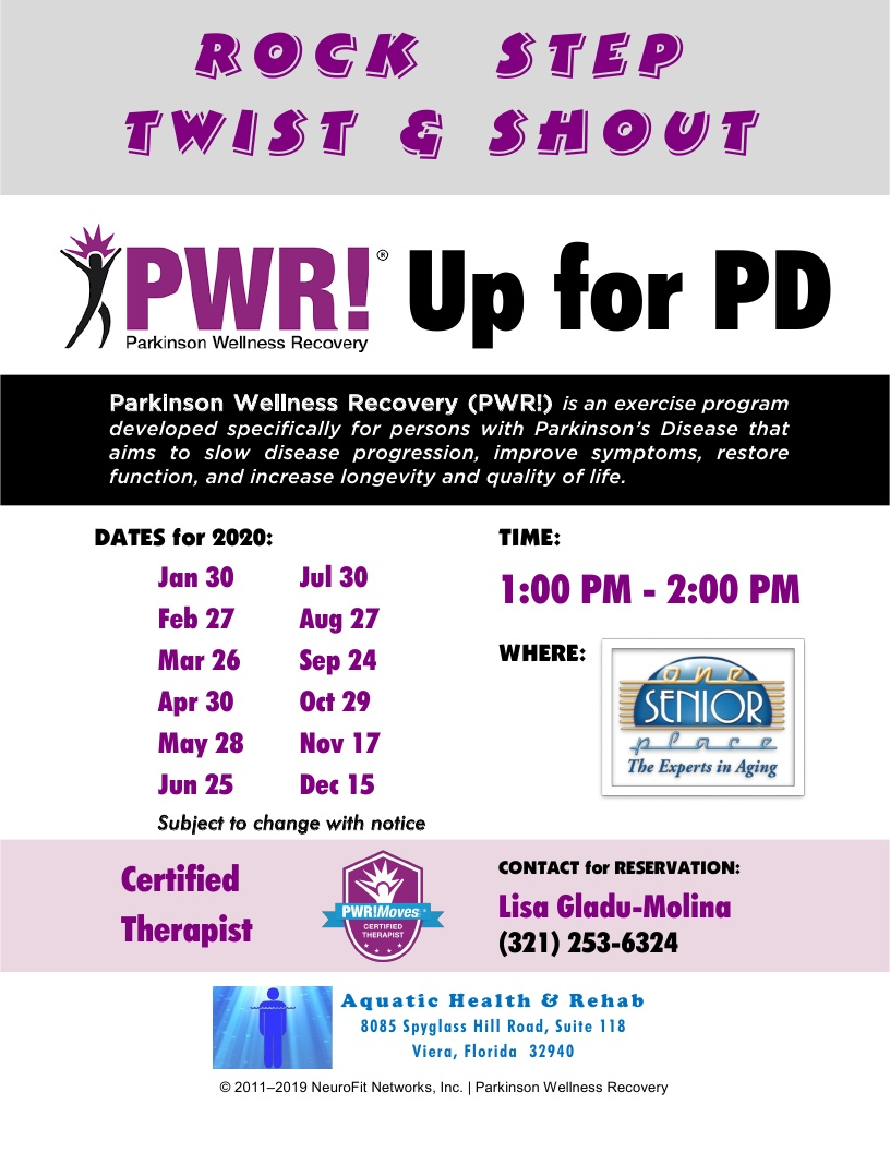 Rock, Step, Twist & Shout, PWR! Up for PD - Aquatic Health & Rehab