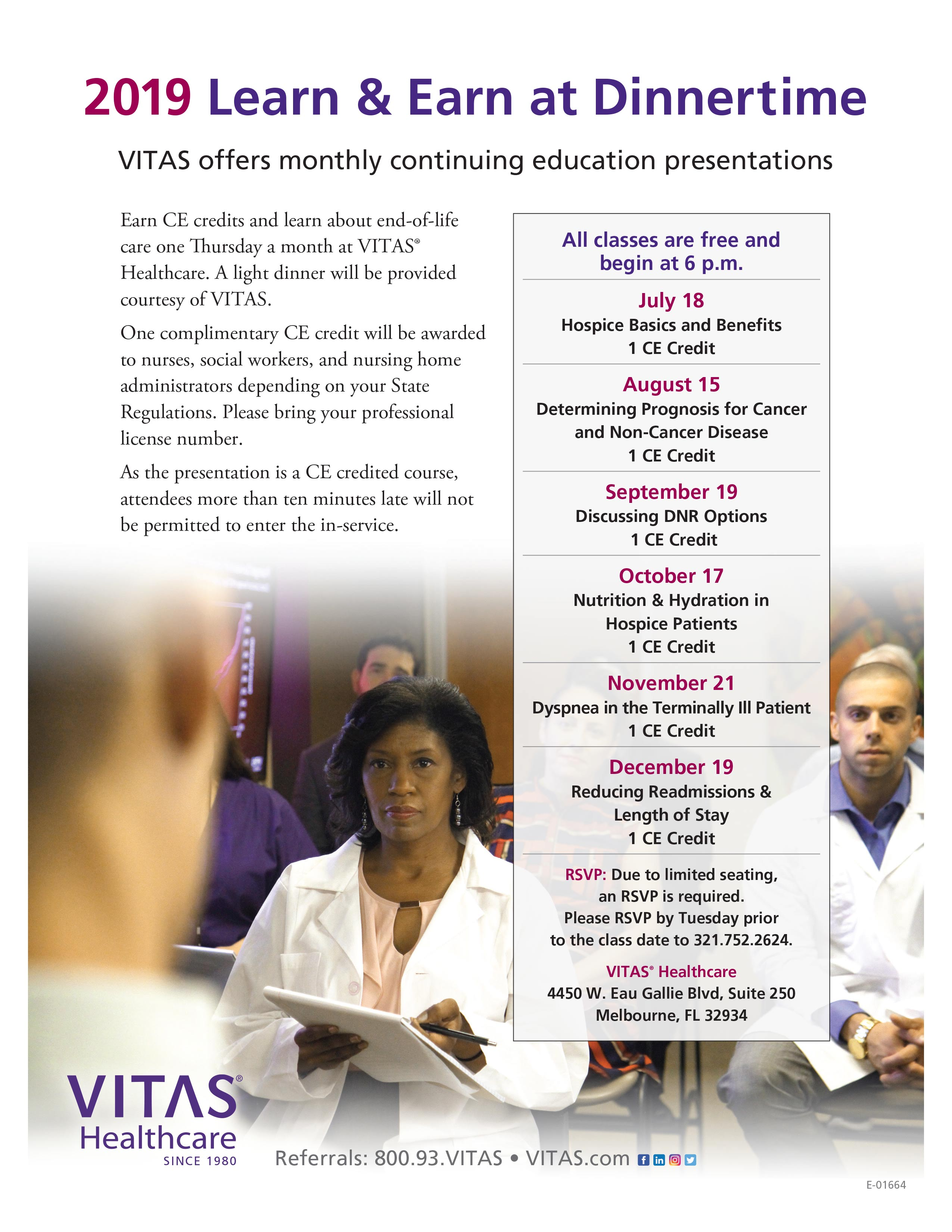 2019 Learn & Earn at Dinnertime offered by VITAS Healthcare