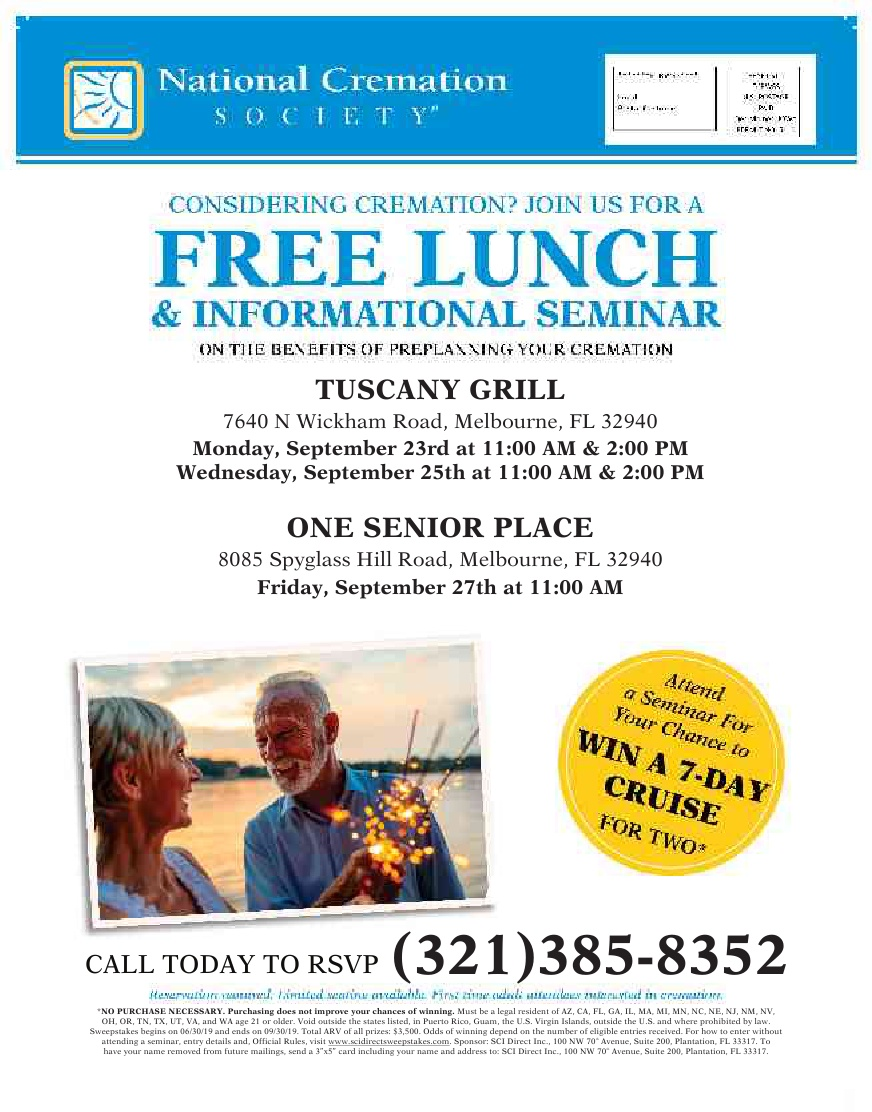 Considering Cremation? FREE Lunch & Information Seminar presented by National Cremation Society