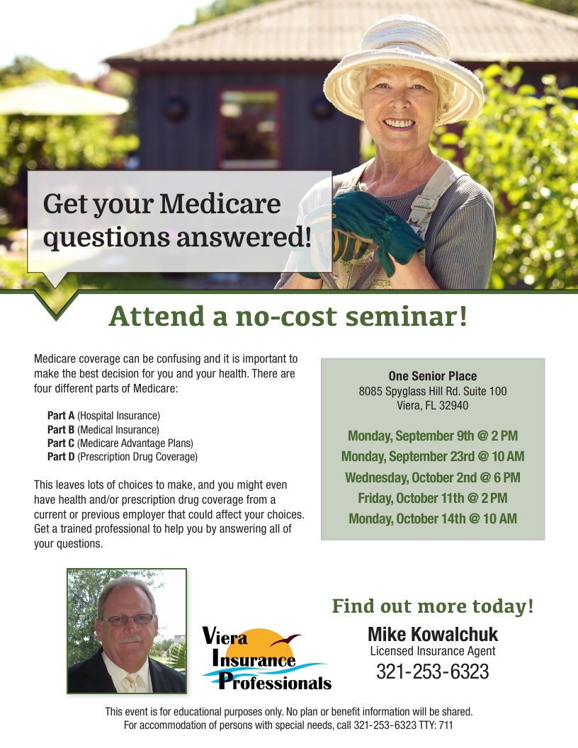 Get your Medicare questions answered! presented by Viera Insurance Professionals