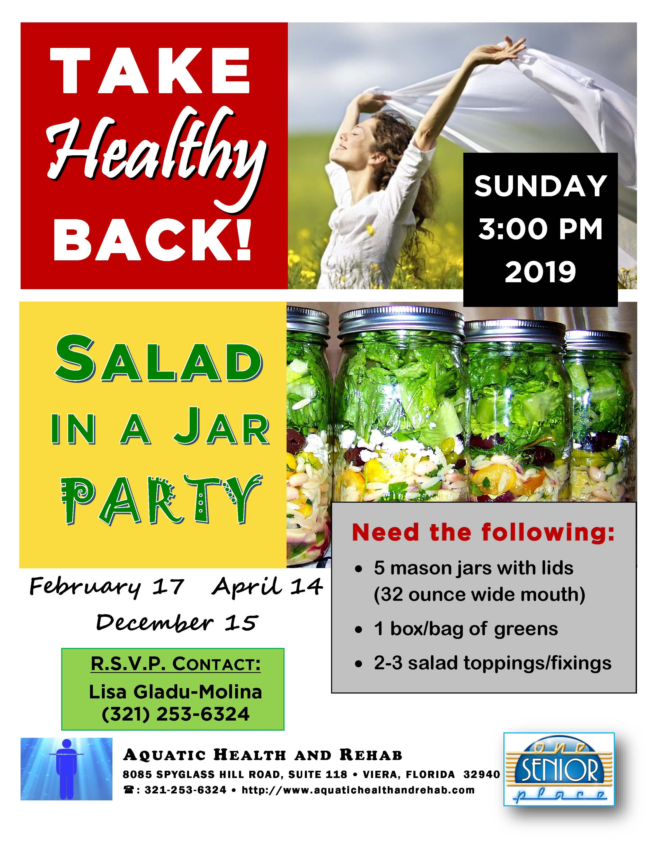 Take Healthy Back, Salad in a Jar Party with Aquatic Health