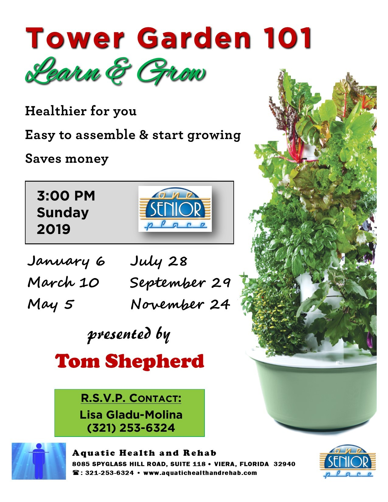 Tower Garden 101, Learn and Grow, presented by Aquatic Health and Rehab