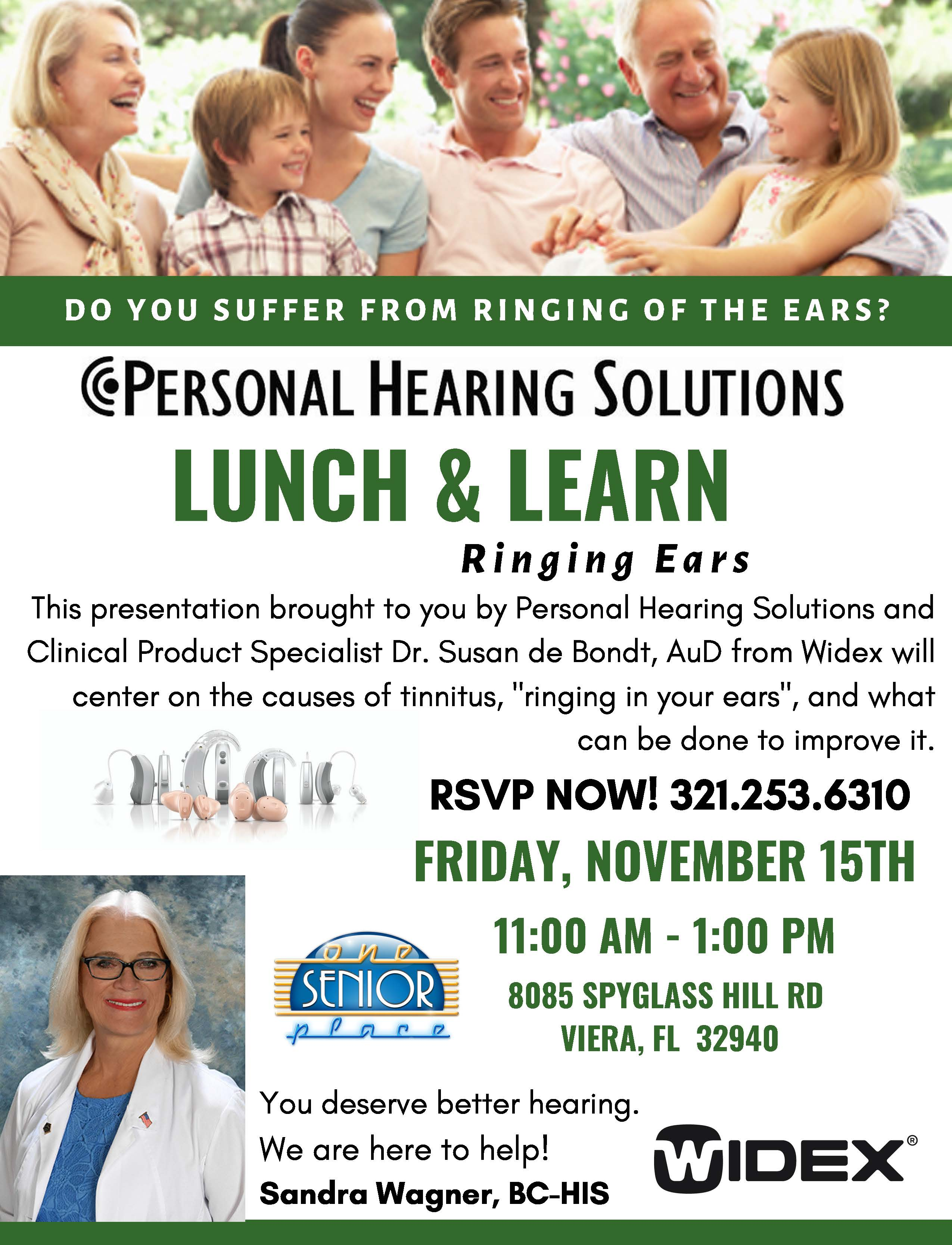 Ringing Ears? Lunch and Learn Seminar presented by Personal Hearing Solutions