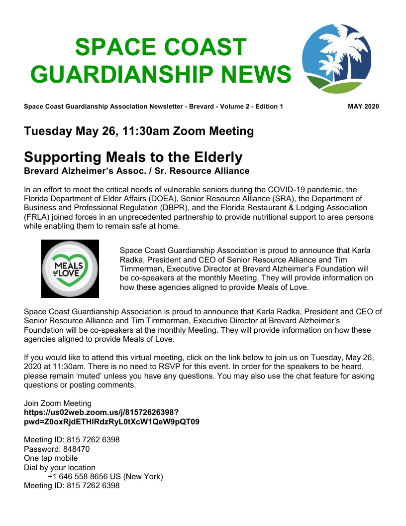 Space Coast Guardianship Association (SCGA) - Zoom Meeting