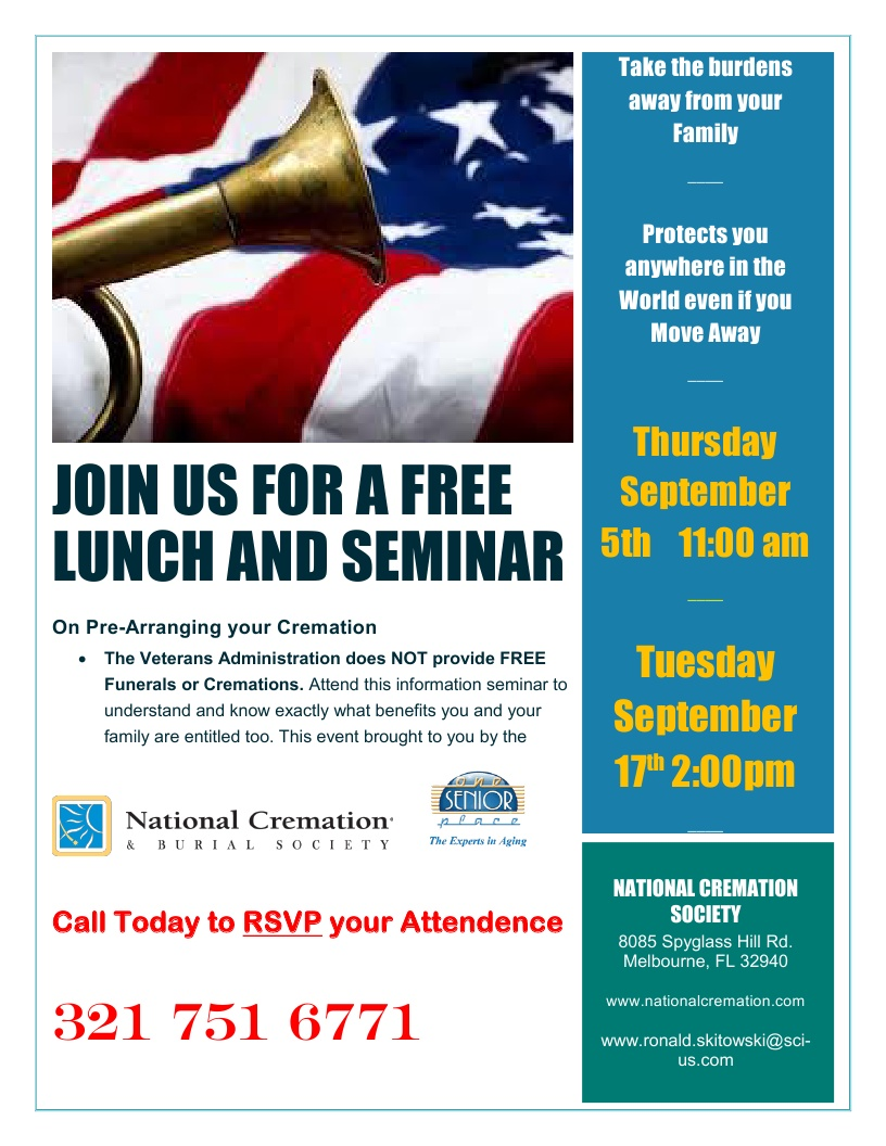 Considering Cremation? Lunch Seminar presented by National Cremation Society