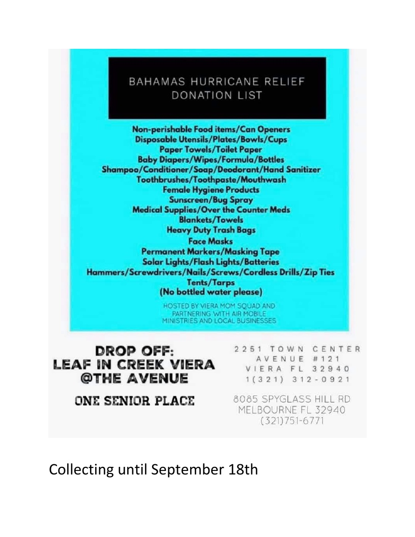 Bahamas Hurricane Relief - Donations Needed