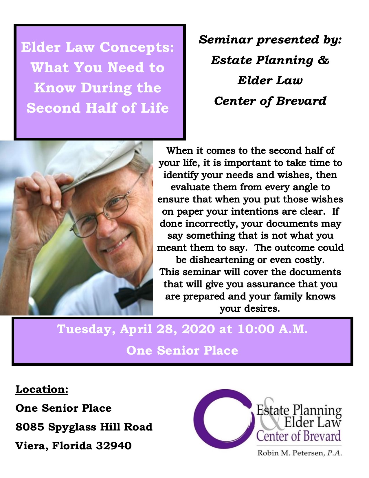CANCELLED - Elder Law Concepts: What You Need to Know During the Second Half of Life presented by Estate Planning and Elder Law Center of Brevard