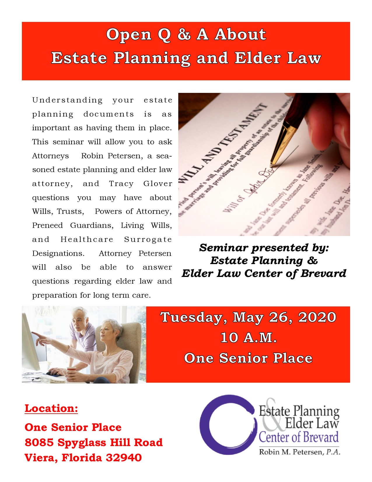 Open Q & A About Estate Planning and Elder Law presented by Estate Planning and Elder Law Center of Brevard