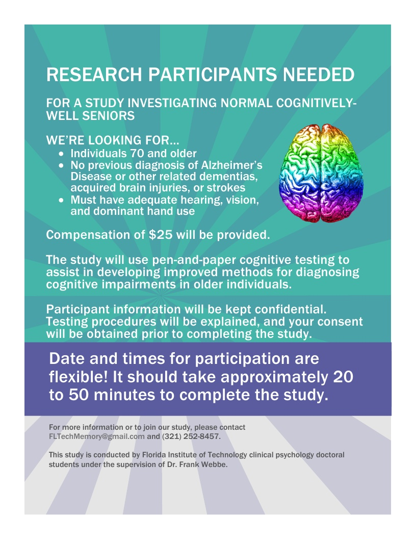 Research Participants Needed, study conducted by Florida Institute of Technology