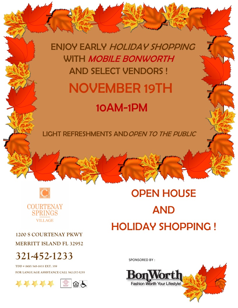 Open House and Holiday Shopping at Courtenay Springs Village