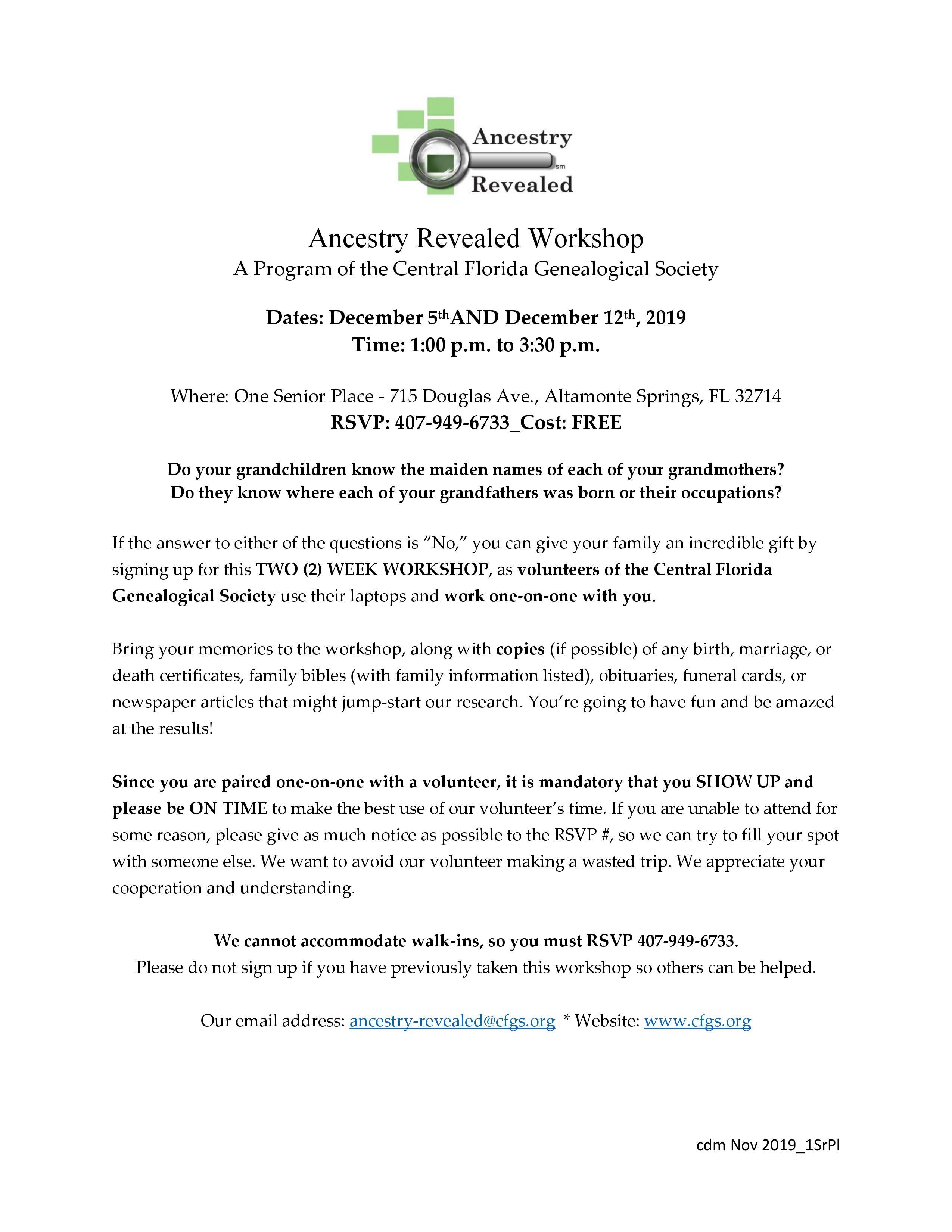 Ancestry Revealed - 2 Part Workshop
