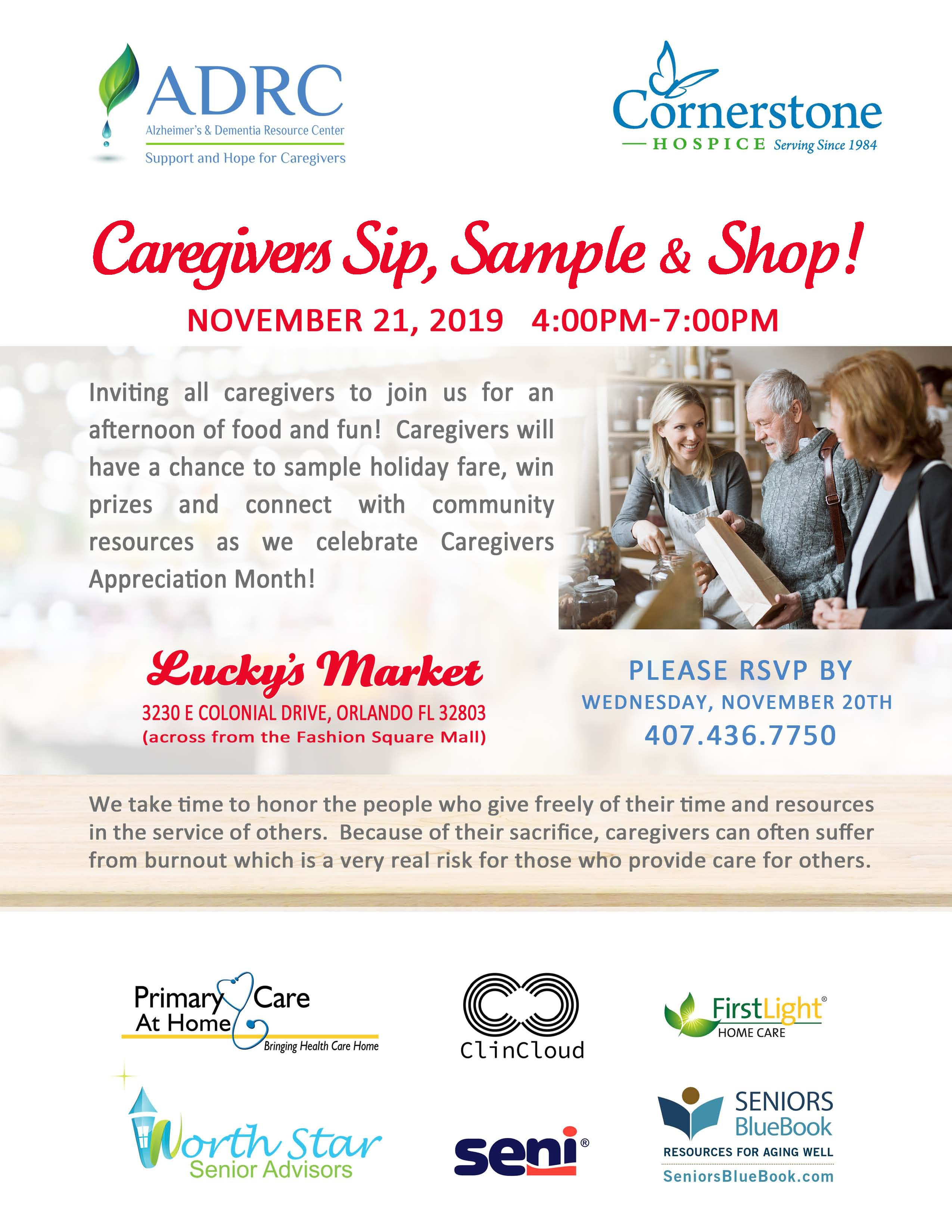 Caregivers Sip, Sample & Shop!
