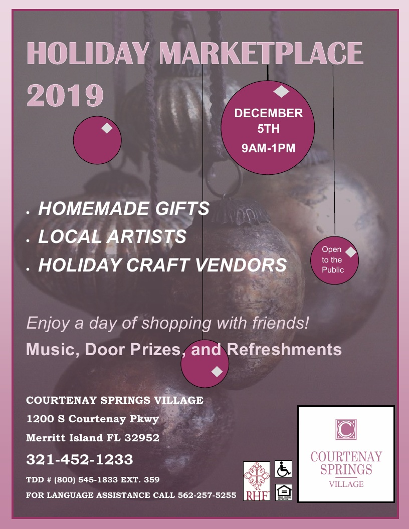 Holiday Marketplace 2019! at Courtenay Springs Village