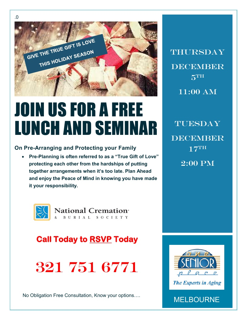 Considering Cremation? Lunch and Learn Seminar presented by National Cremation Society