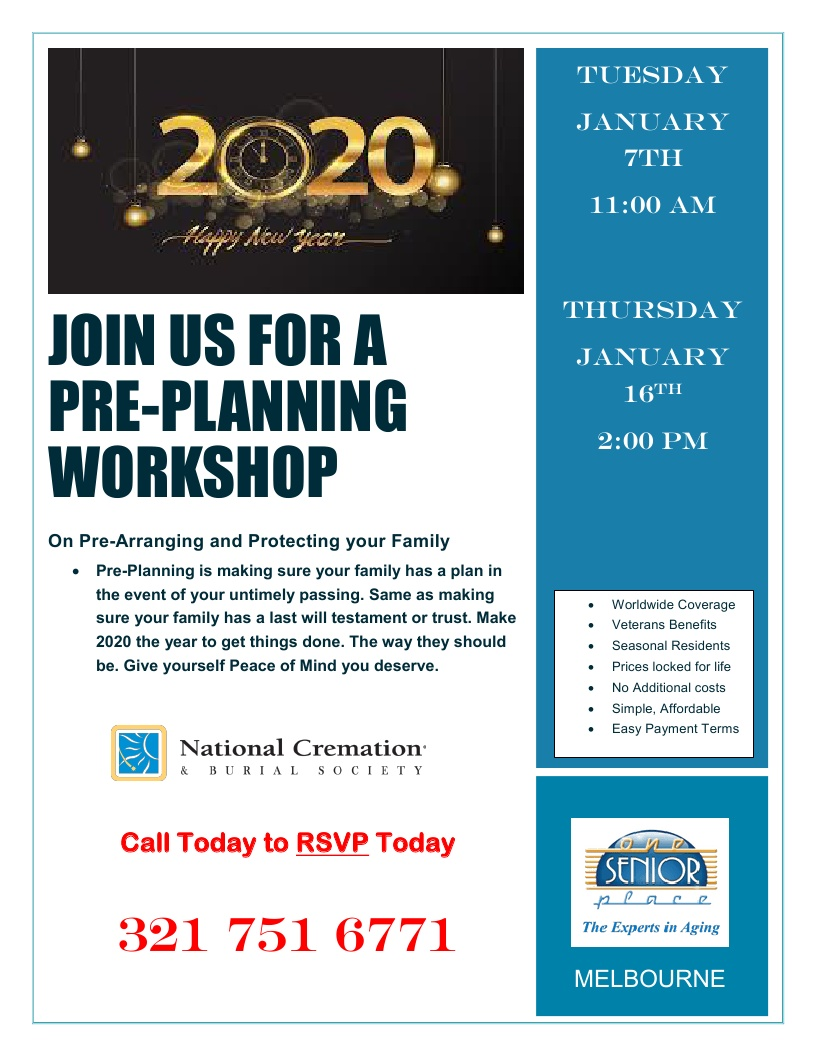 Join us for a Pre-Planning Workshop presented by National Cremation Society
