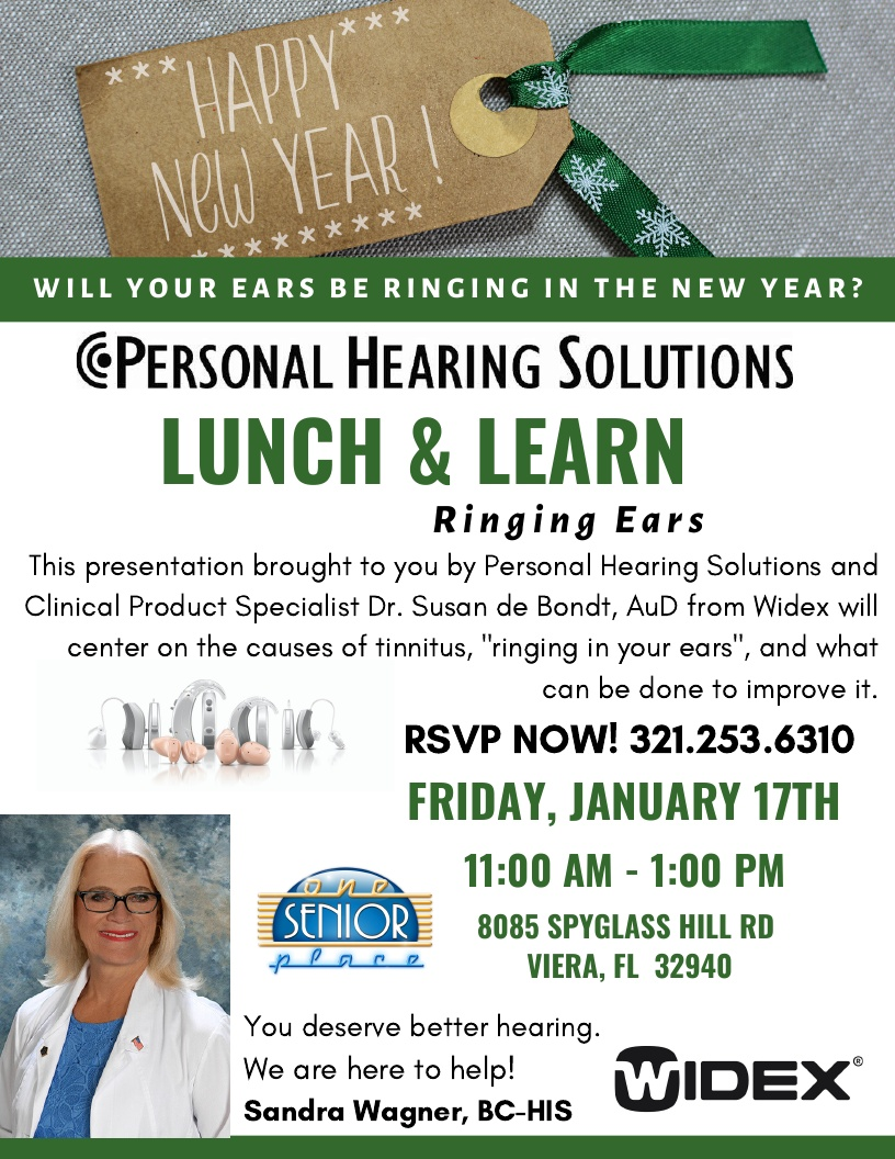 Will Your Ears Be Ringing In The New Year? Lunch and Learn Seminar presented by Personal Hearing Solutions