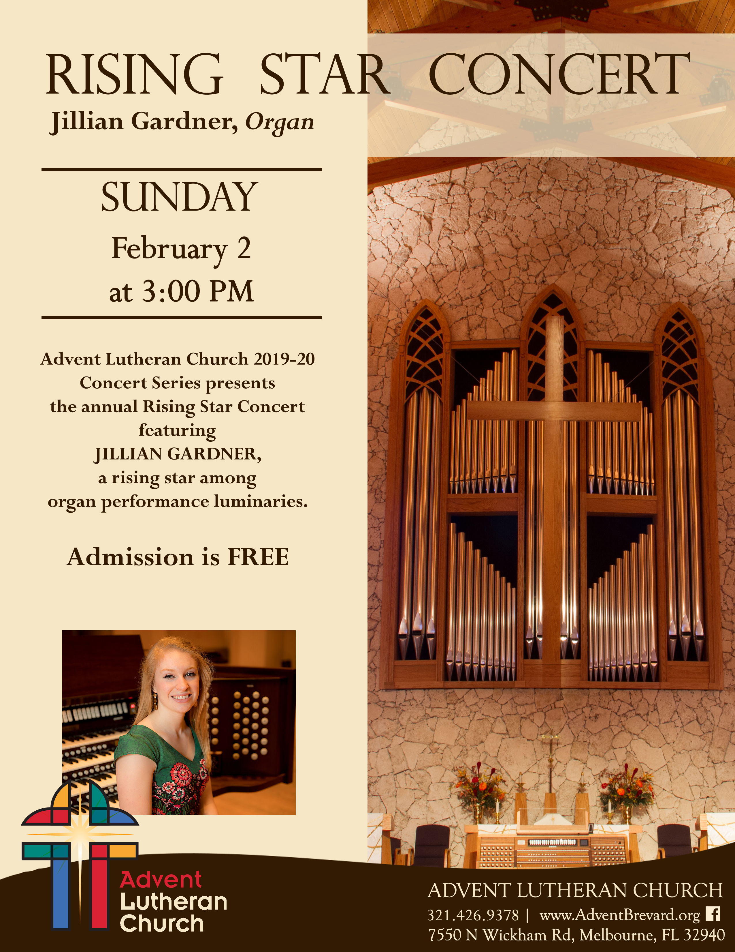 'Pipe Organ Rising Star Performs in Pink Shoes' at Advent Lutheran Church
