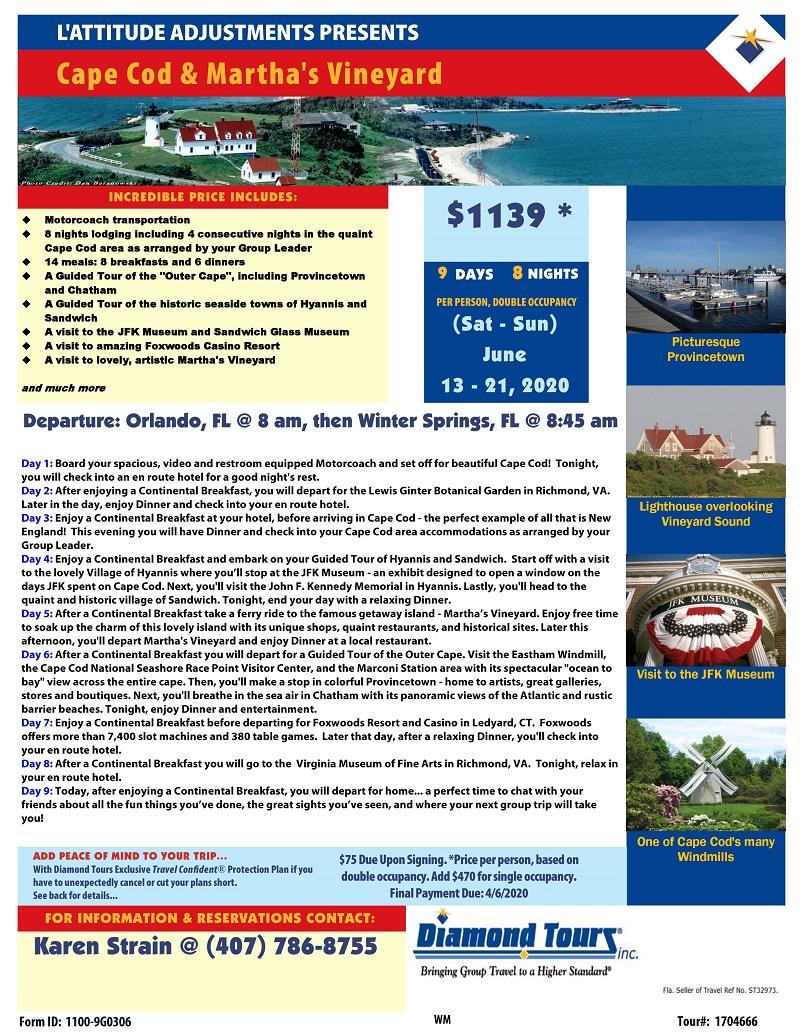 OVERNIGHT TRIP: Cape Cod & Martha's Vineyard