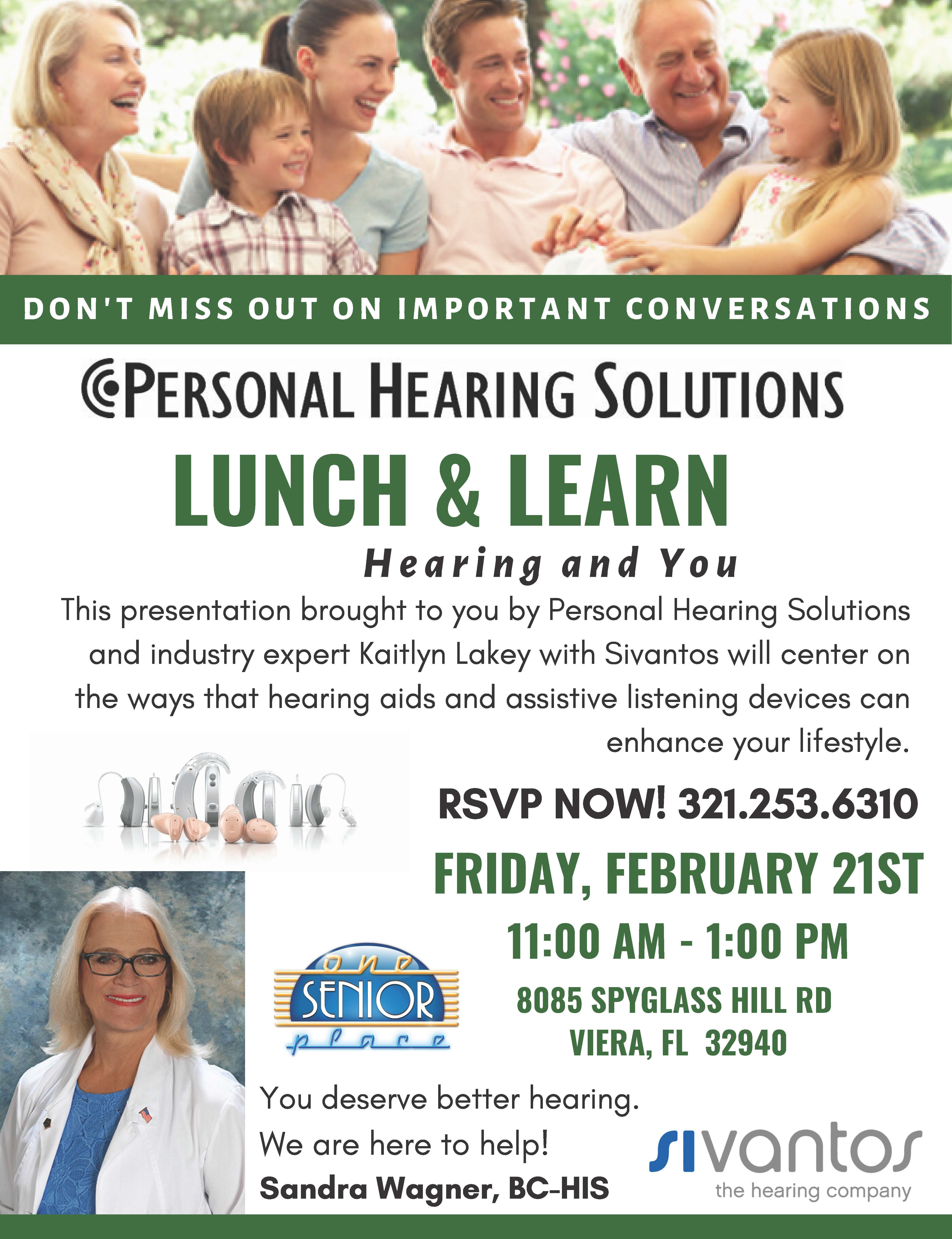 Can You Hear Me Now? Lunch and Learn Seminar presented by Personal Hearing Solutions