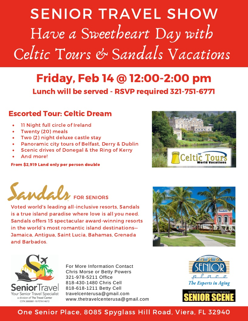 Have a Sweetheart Day with Celtic Tours and Sandals Vacations hosted by Senior Travel