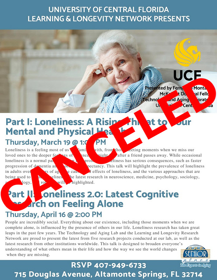 CANCELED - Part II: Loneliness 2.0: Latest Cognitive Research on Feeling Alone