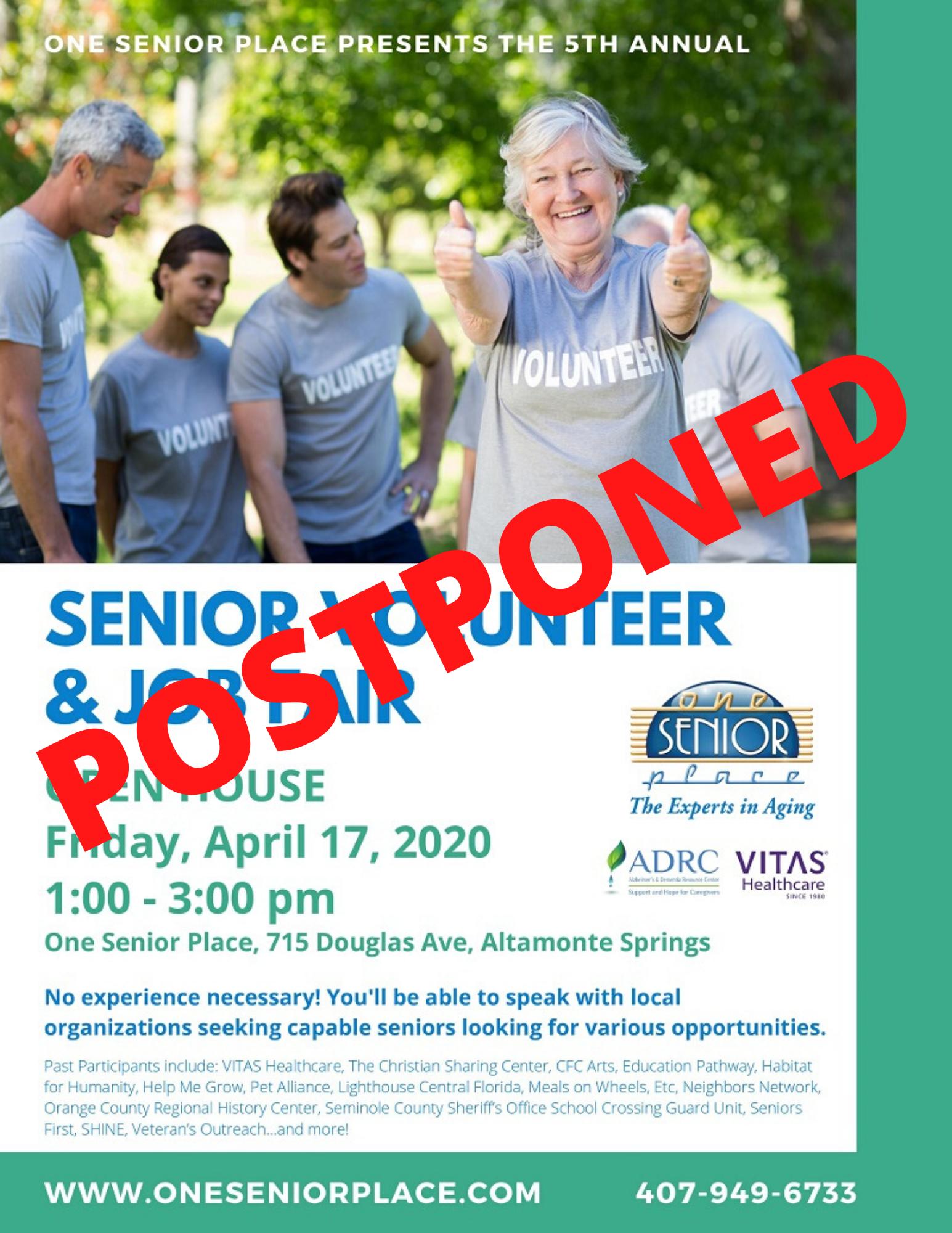 POSTPONED: 5th Annual Senior Volunteer & Job Fair