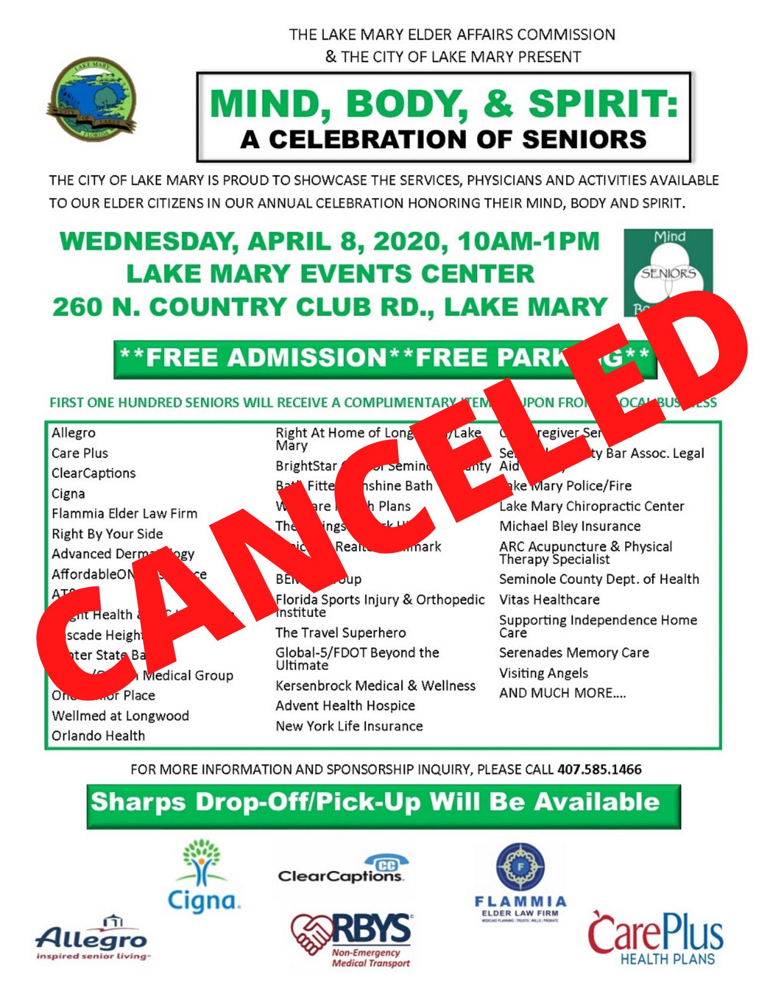 CANCELED: Senior Expo - Mind, Body, & Spirit: A Celebration of Seniors