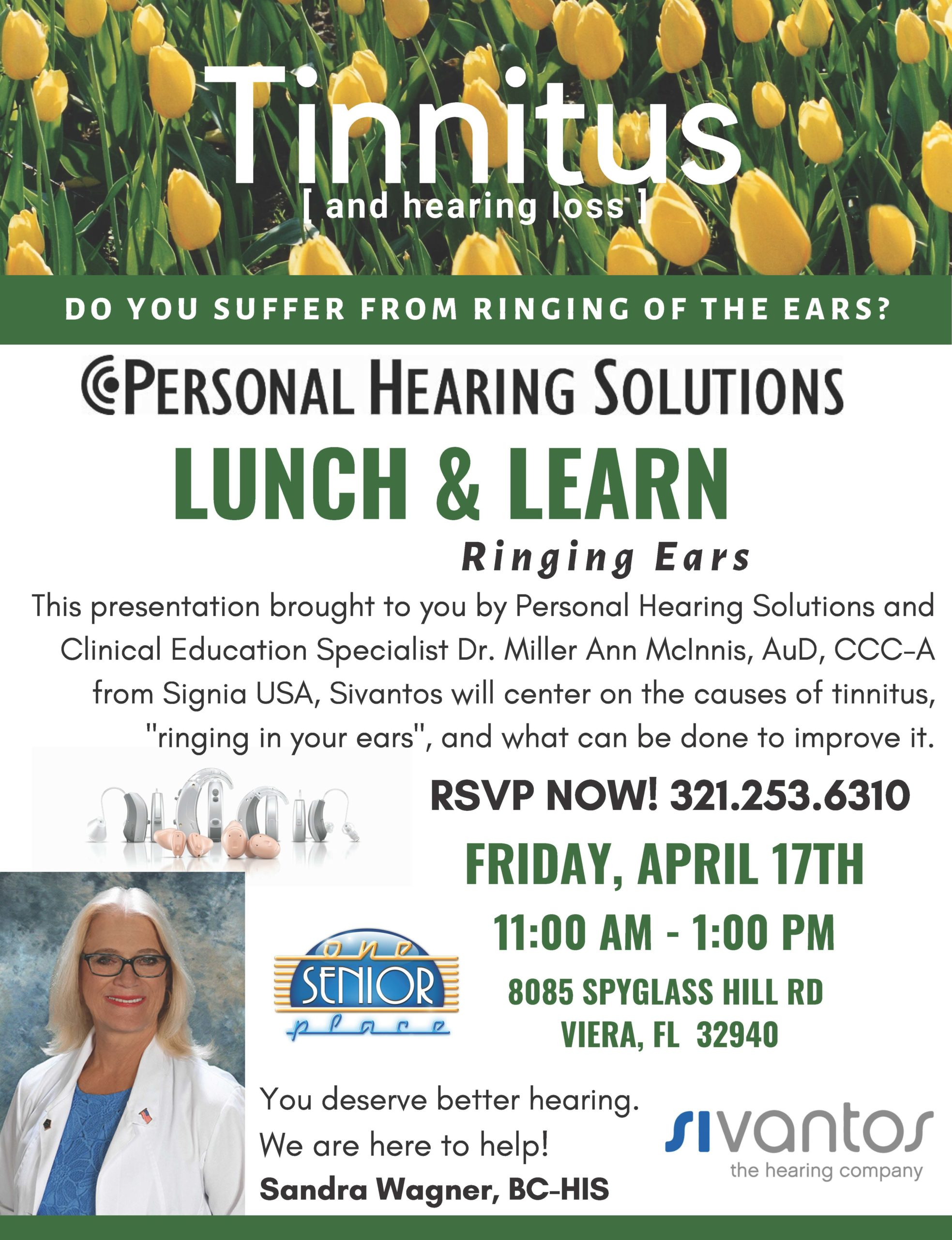 CANCELLED - Tinnitus [and hearing loss] Lunch and Learn Seminar presented by Personal Hearing Solutions
