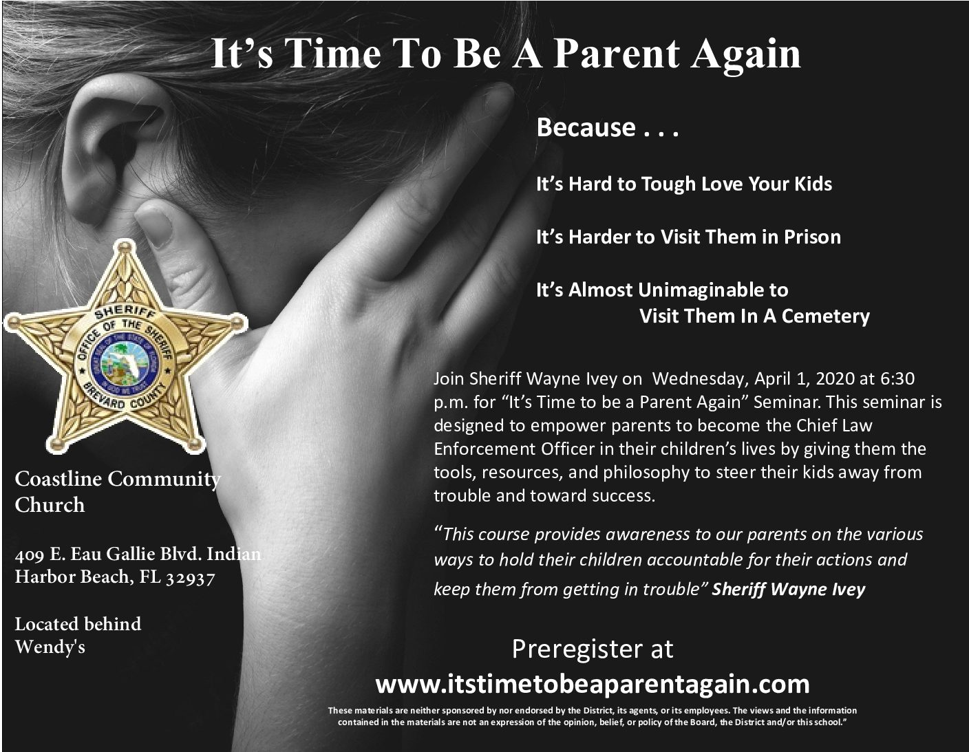 """""""It's Time to be a Parent Again"""" seminar presented by Sheriff Wayne Ivey"""