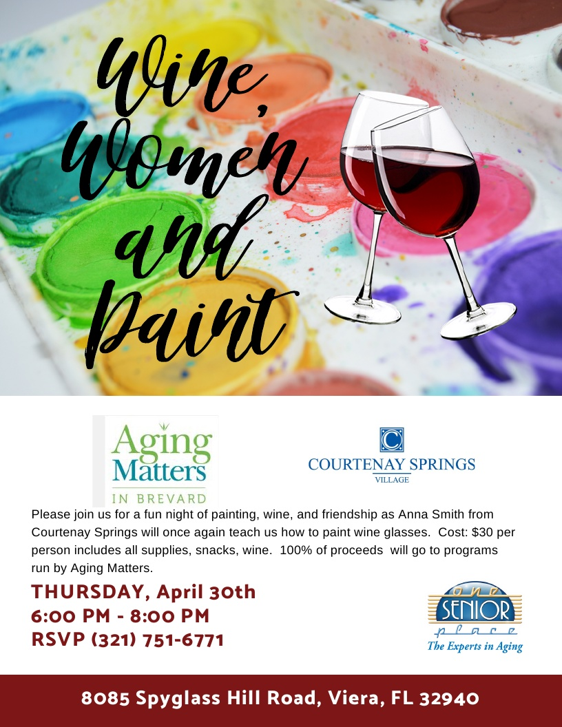 POSTPONED - Wine, Women and Paint Fundraiser to Benefit Aging Matters