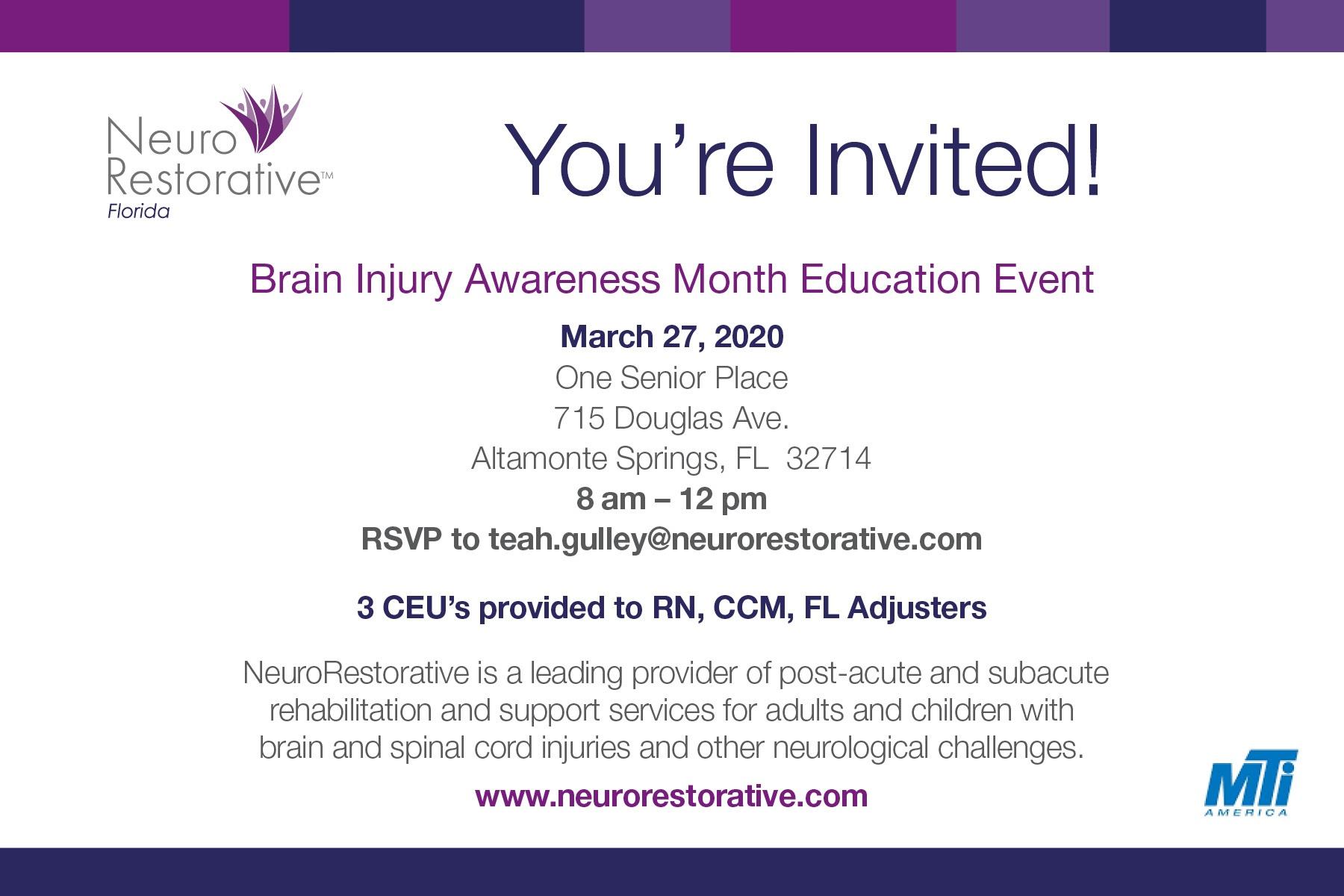 CEU Event - Brain Injury Awareness Month Educational Event
