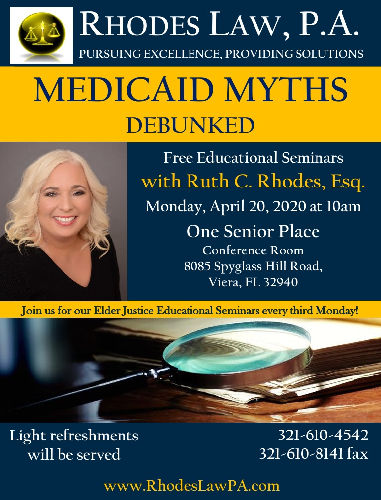 CANCELLED - Medicaid Myths Debunked with Ruth C. Rhodes, Esq.