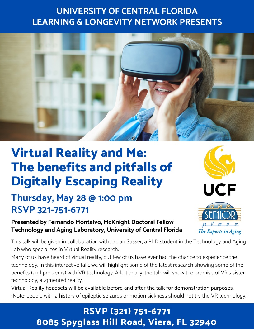 Cancelled Until Further Notice * Virtual Reality and Me: The benefits and pitfalls of Digitally Escaping Reality presented by Fernando Montalvo, UCF