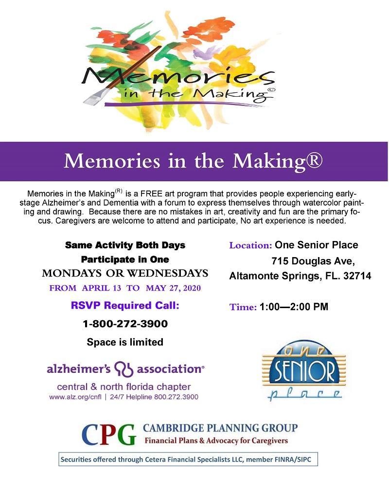 CANCELED - Memories in the Making Alzheimer's Art Program