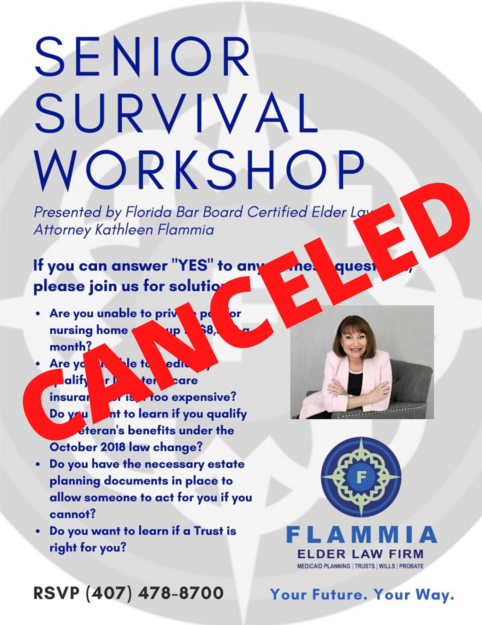 CANCELED: Senior Survival Workshop