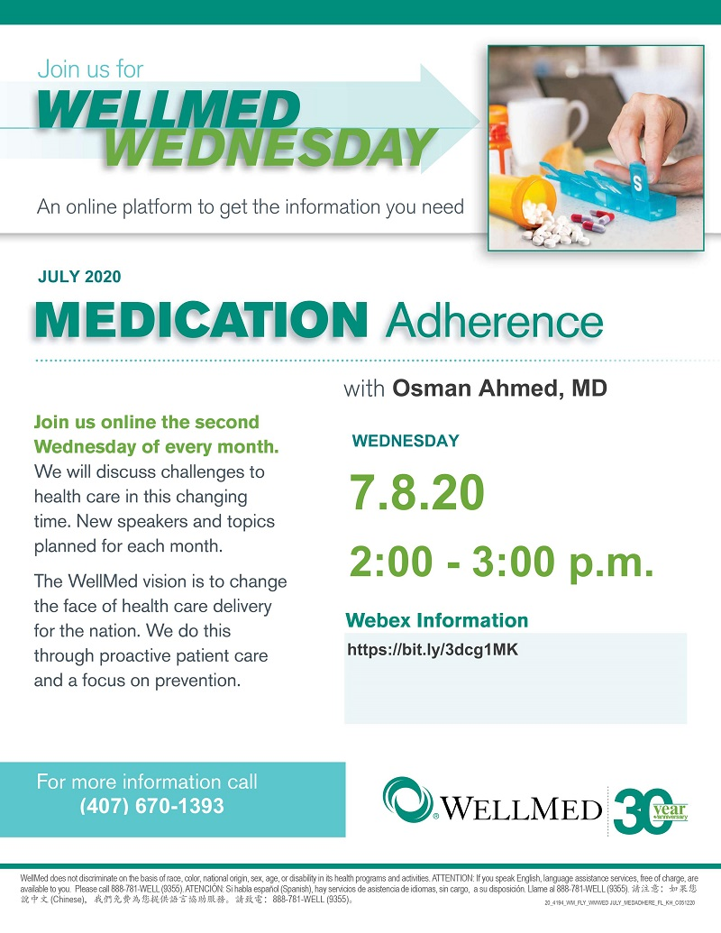 VIRTUAL: WellMed Wednesday - Medication Adherence