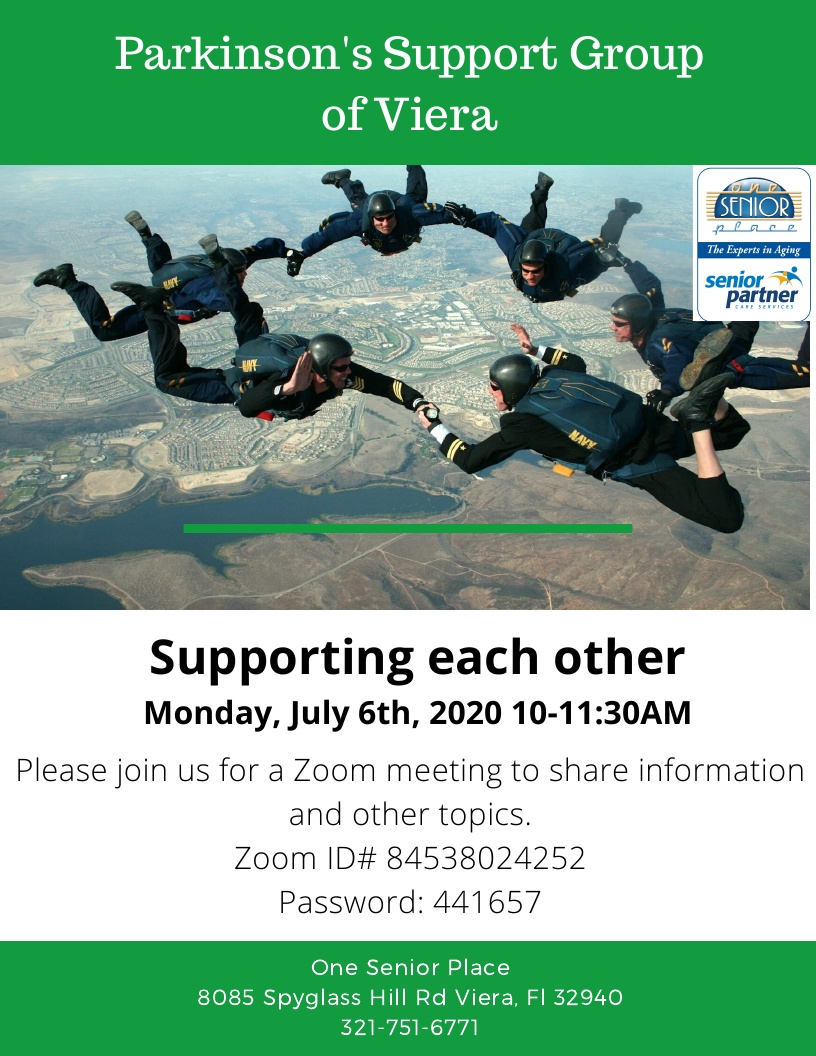 VIRTUAL:  Supporting each other, Zoom Meeting, Parkinson's Support Group of Viera