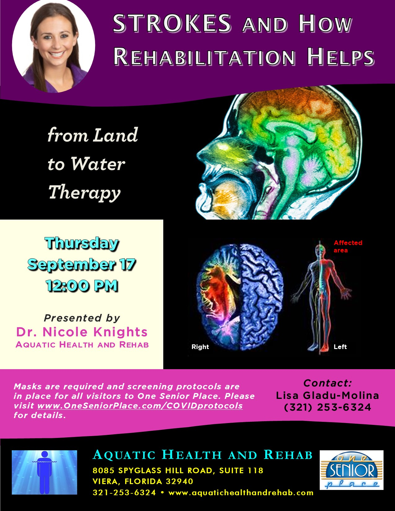 ***CANCELLED***STROKES and How Rehabilitation Helps presented by Dr. Nicole Knights with Aquatic Health and Rehab
