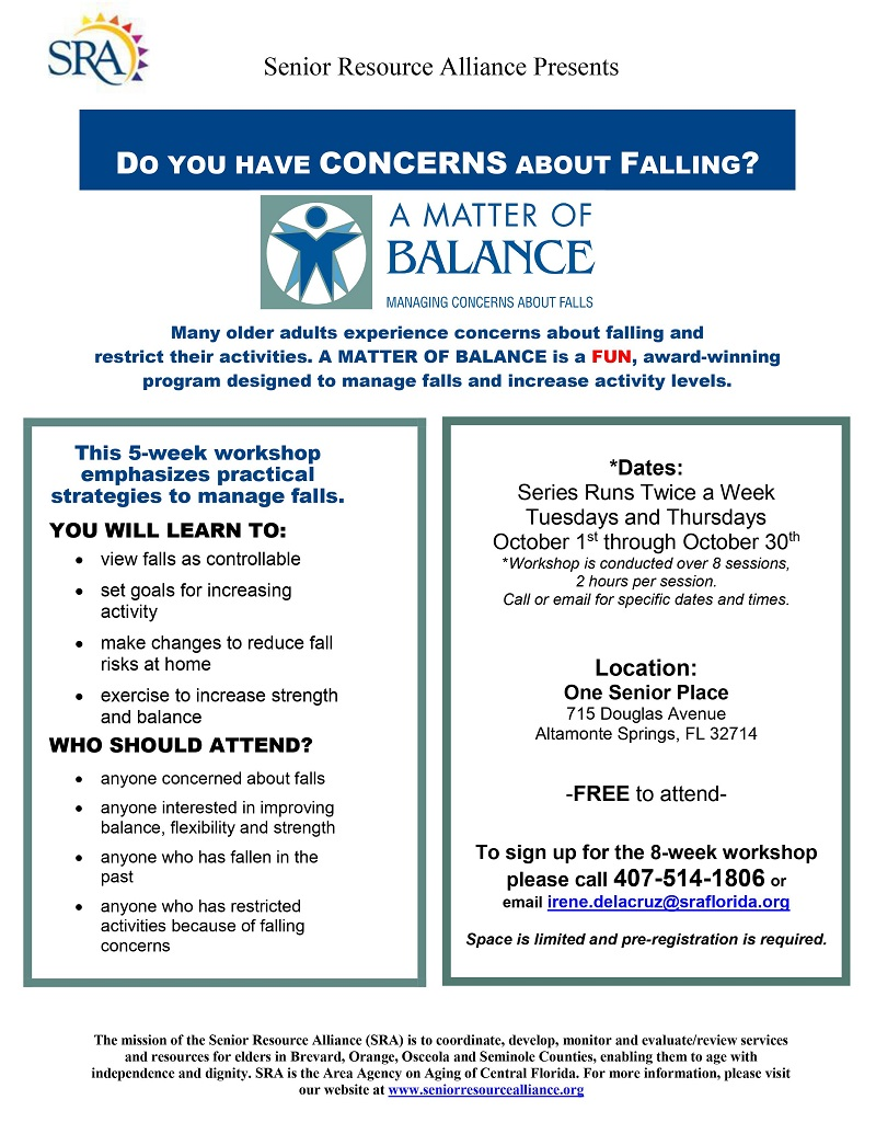 8-Week Series: A Matter of Balance, Managing Concerns About Falls