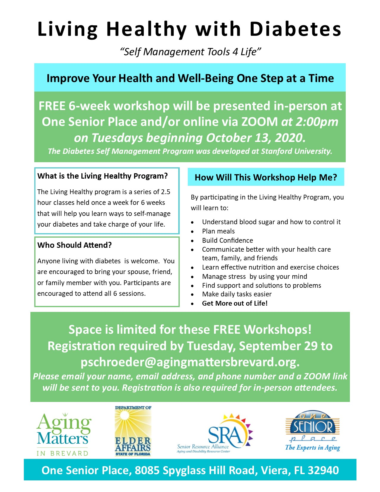 "Living Healthy with Diabetes ""Self Management Tools 4 Life"" Presented by Aging Matters in Brevard"