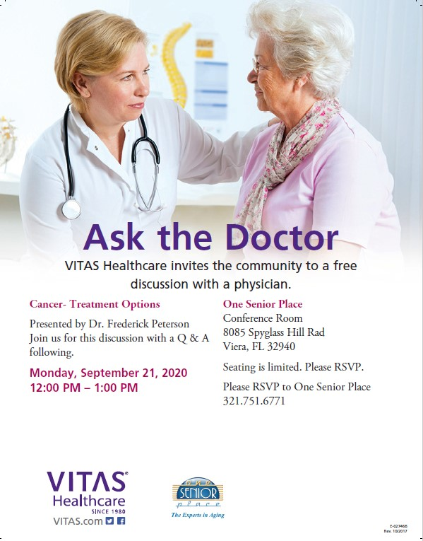 Cancer - Treatment Options 'Ask the Doctor' Lunch and Learn Seminar and ZOOM Meeting presented by VITAS Healthcare