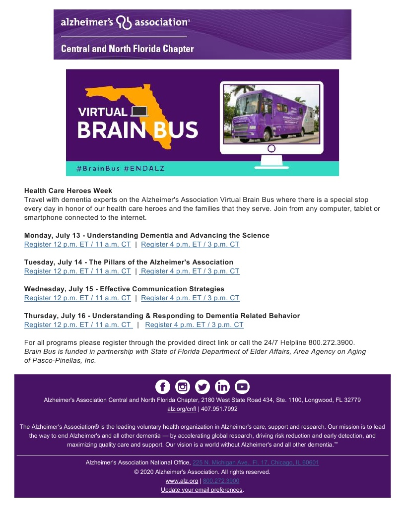 Alzheimer's Association - VIRTUAL Brain Bus