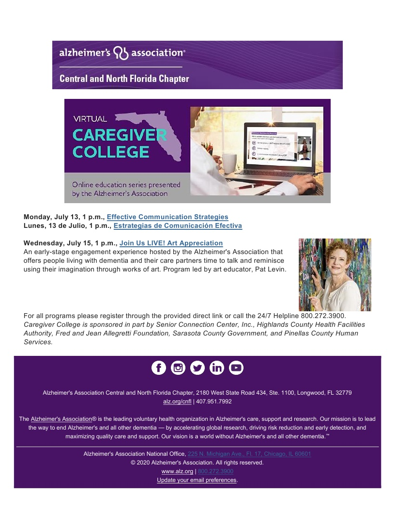 Alzheimer's Association - VIRTUAL Caregiver College