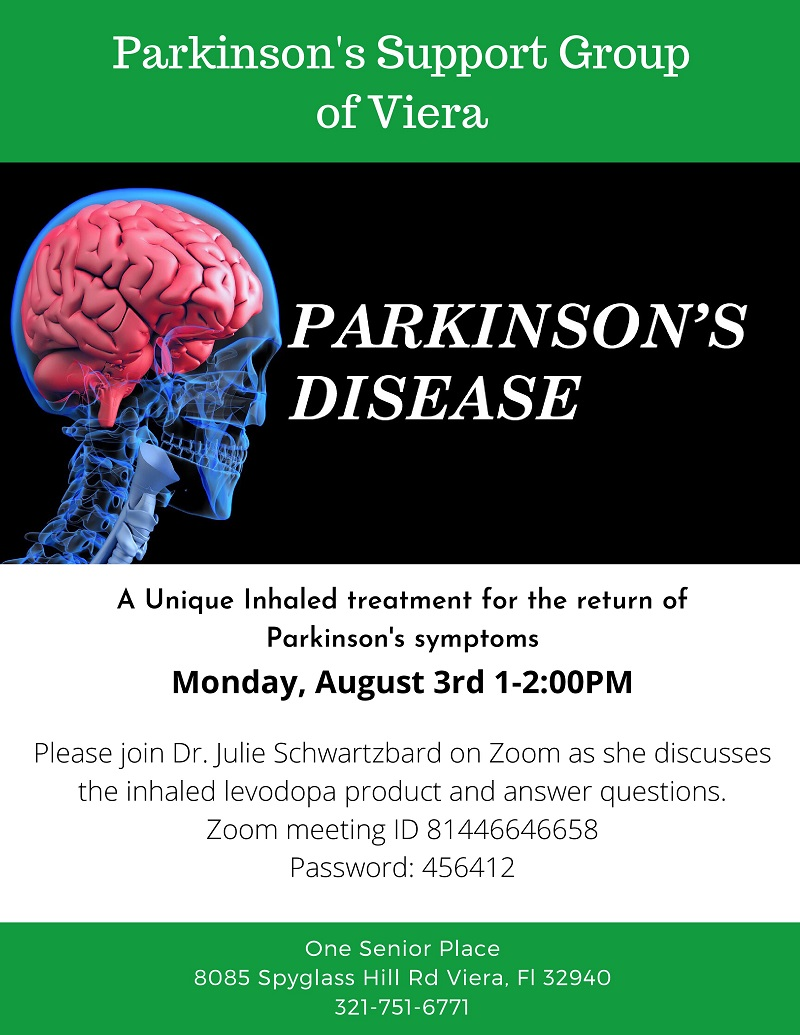 VIRTUAL:  Parkinson's Disease, Zoom Meeting, Parkinson's Support Group of Viera