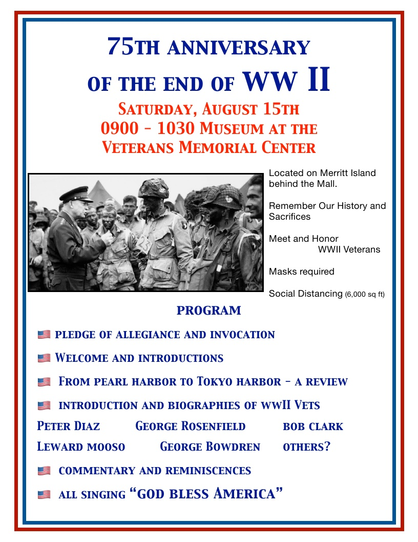 75th Anniversary of the End of WWII and Veterans Memorial Center Food Drive