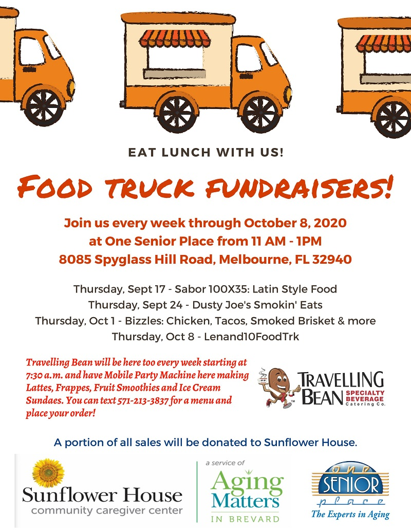 Food Truck Fundraiser, Dusty Joe's Smokin' Eats Food Truck and Travelling Bean Specialty Beverage Catering Co. hosted by One Senior Place and Aging Matters in Brevard